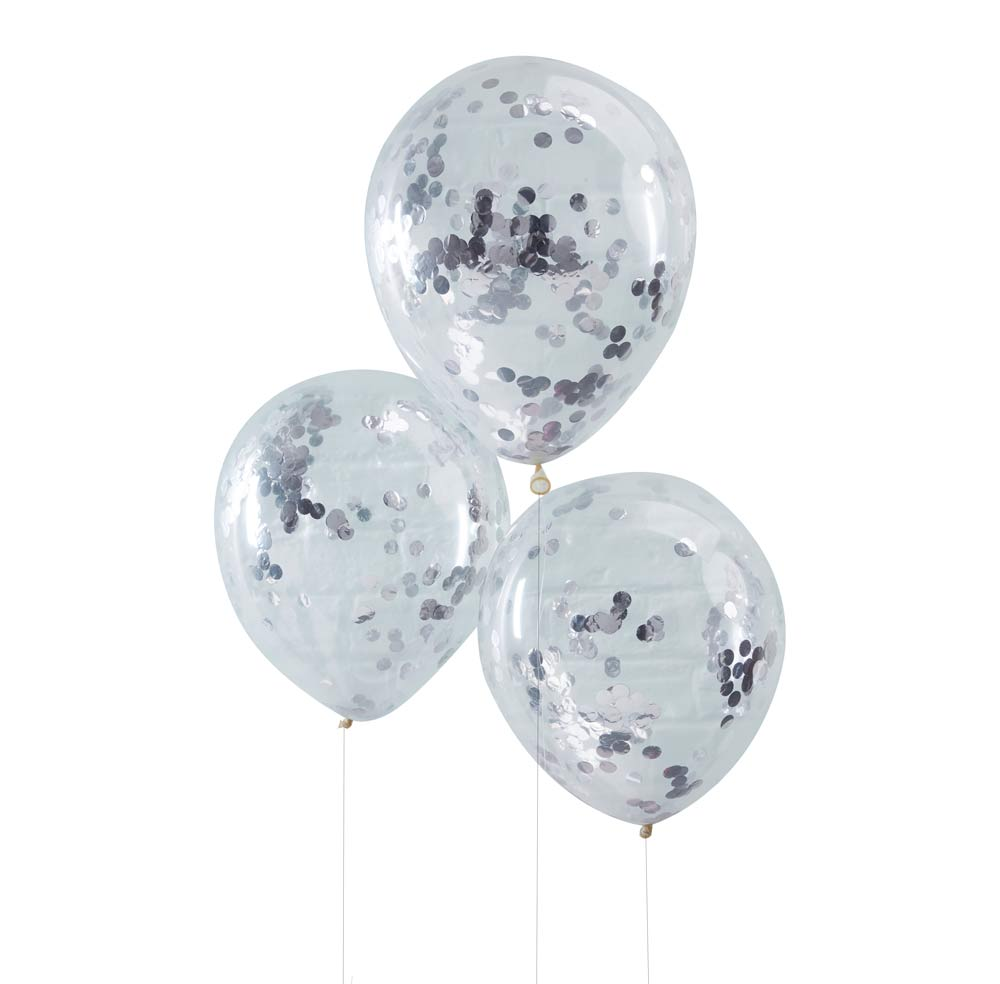 Silver Confetti Filled Balloons