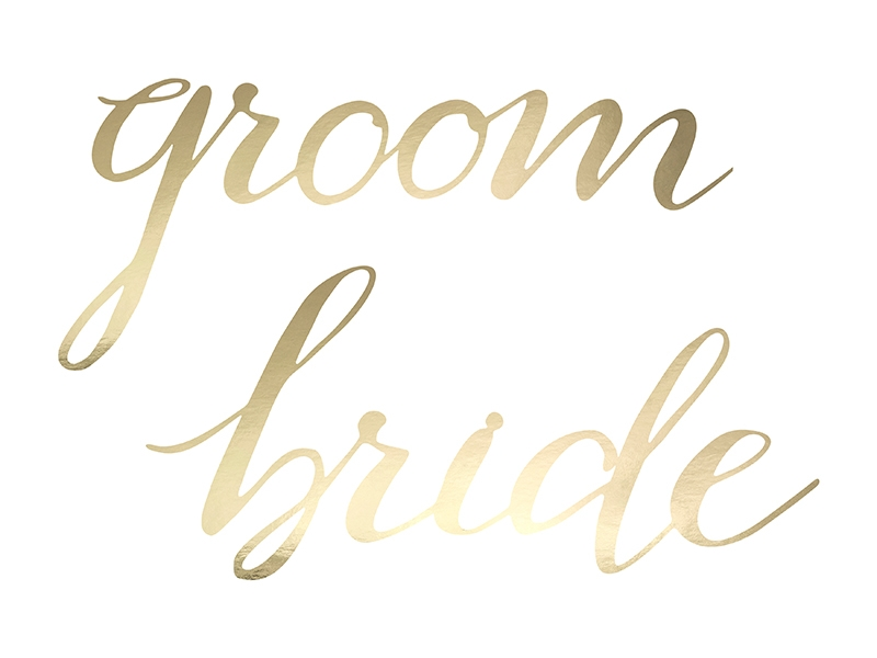 Gold Bride & Groom Chair Signs