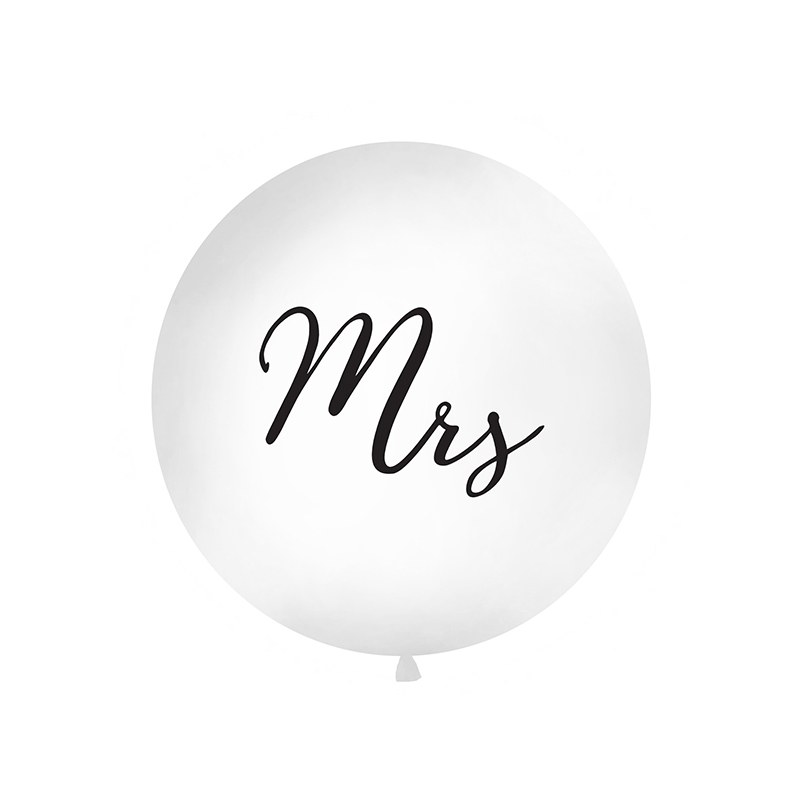 1 Metre White Mrs Giant Balloons
