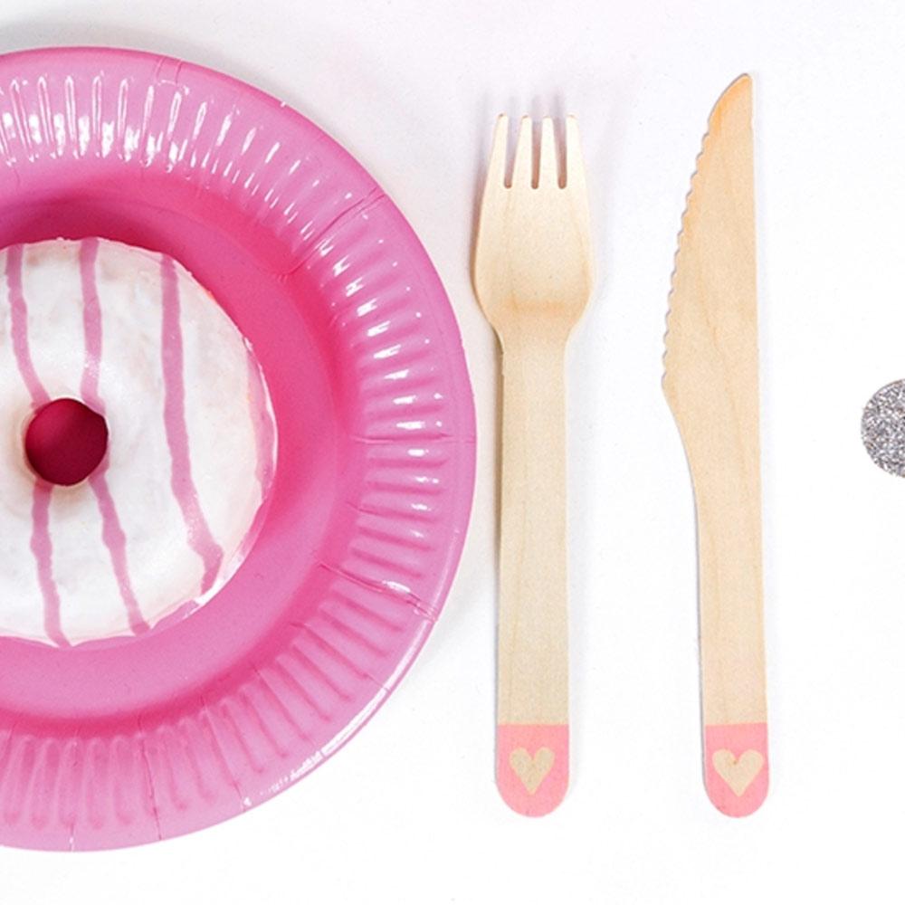Pink Heart Wooden Cutlery
