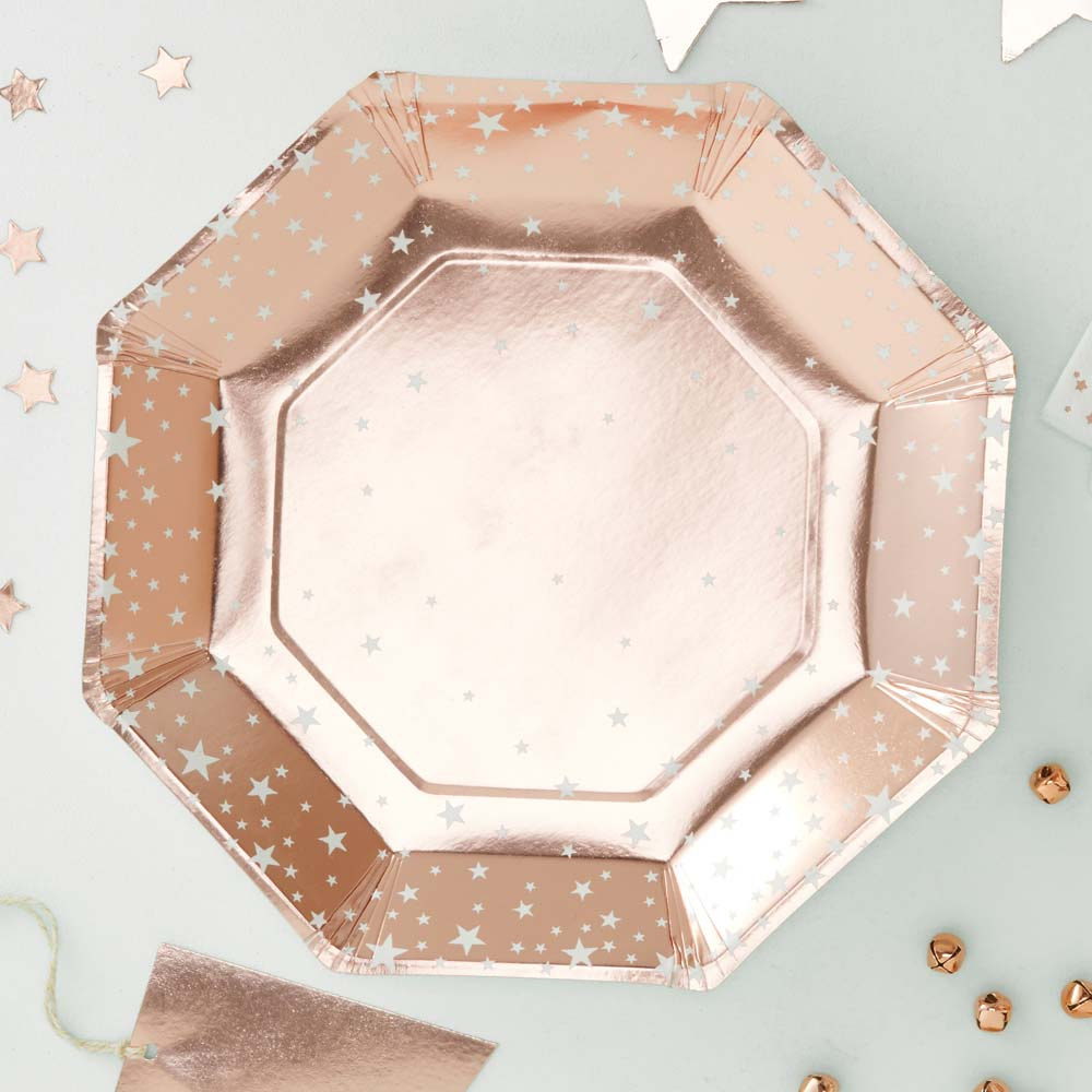 Rose Gold Foiled Star Design Paper Plates