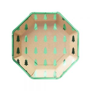 Green Foiled Christmas Tree Paper Plates