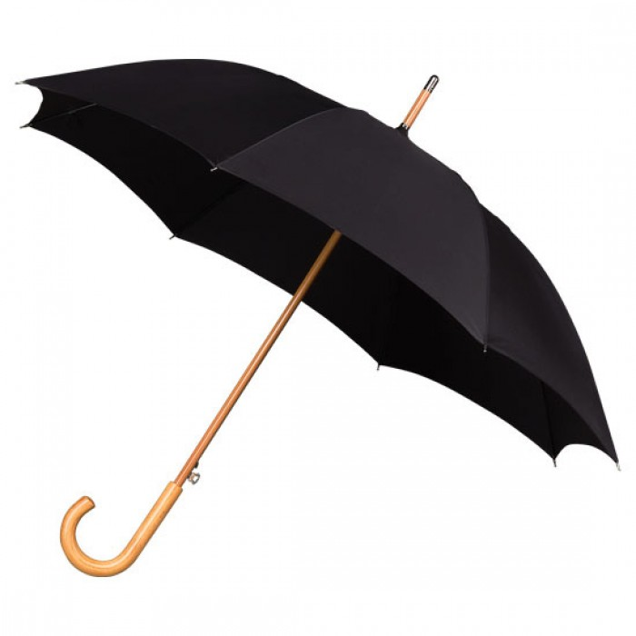 Wooden Stick Umbrella - Black