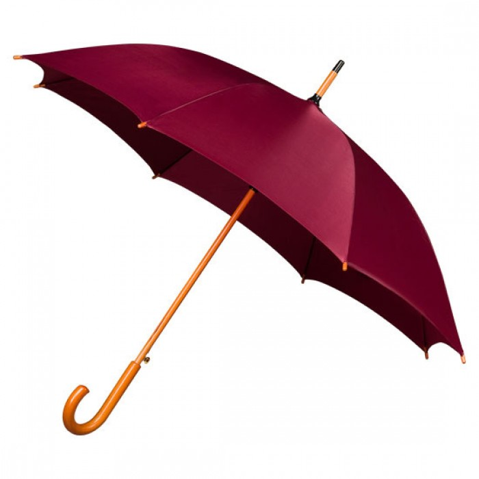 Wooden Stick Umbrella - Burgundy