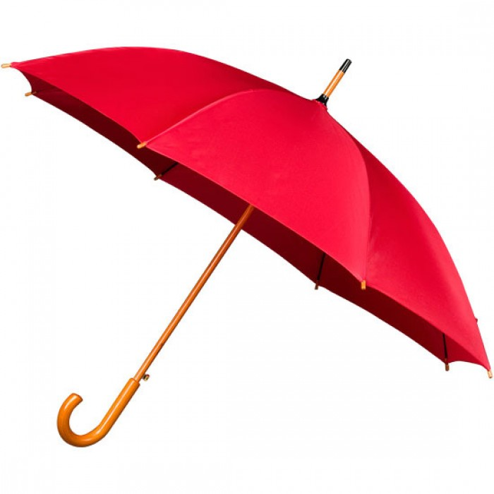 Wooden Stick Umbrella - Red