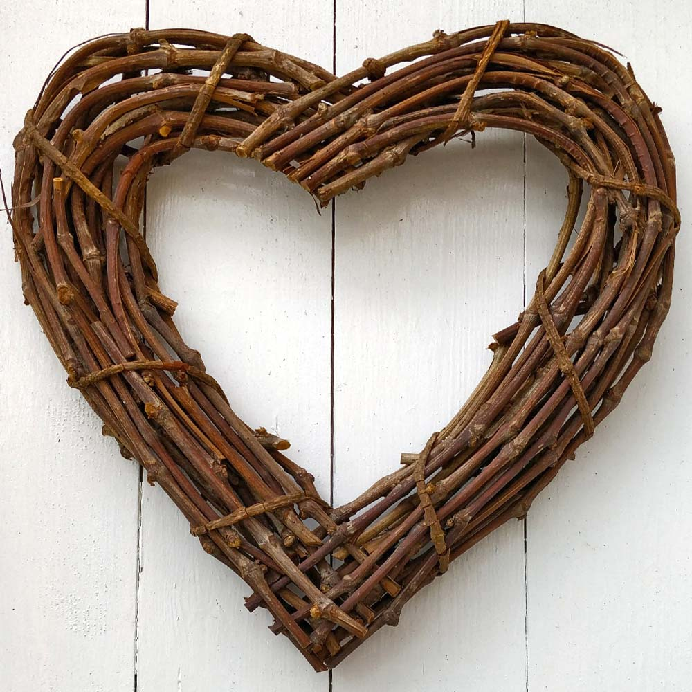 Large Natural Rattan Heart