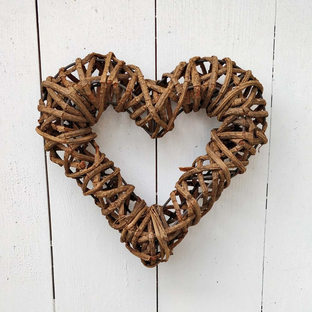 Hanging Natural Rattan Heart Wreath