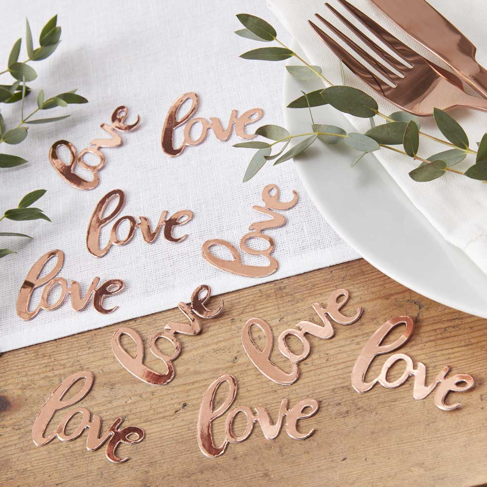 Rose Gold Foiled Love Table Confetti