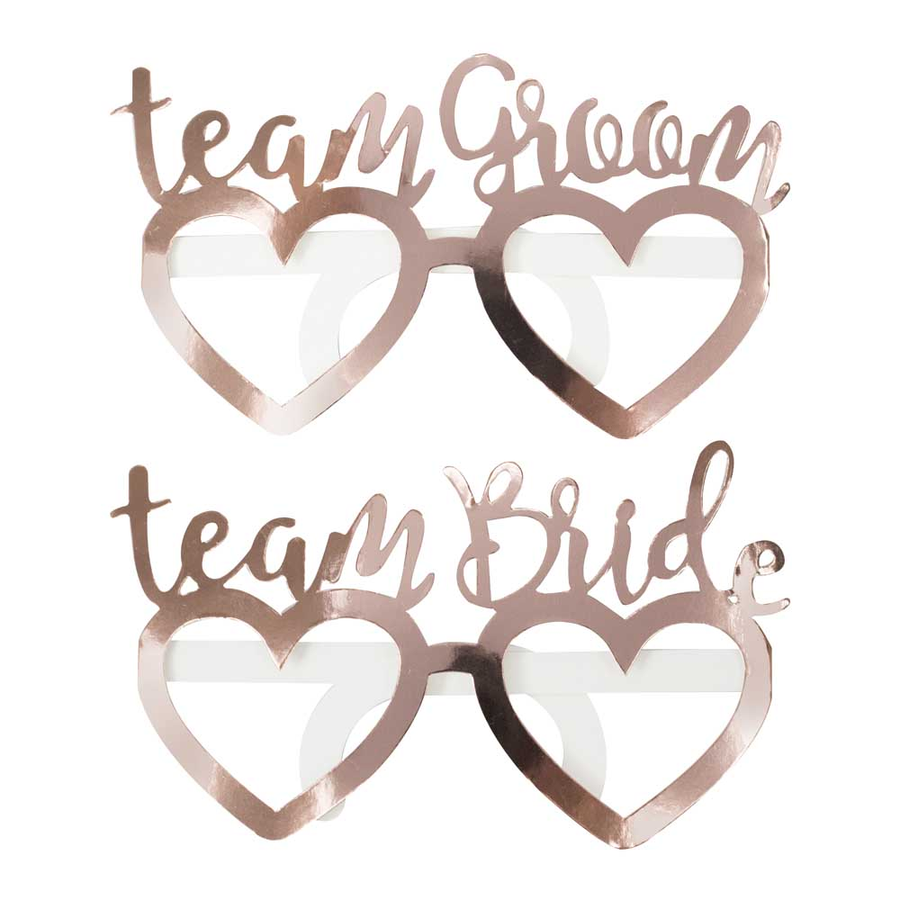 Rose Gold Foiled Team Bride Team Groom Fun Glasses