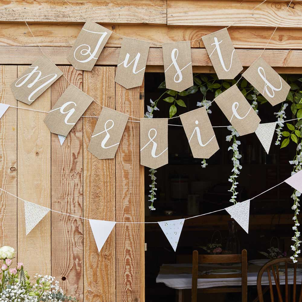 Rustic Just Married Hessian Bunting