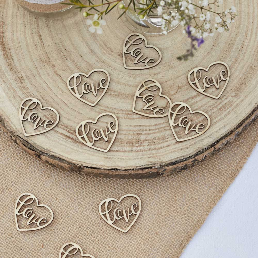 Rustic Wooden Heart Table Confetti