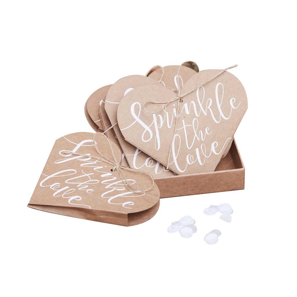 Kraft Heart Confetti Cones