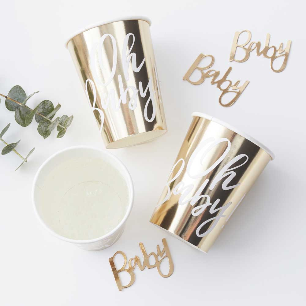 Gold Foiled Oh Baby! Paper Cups