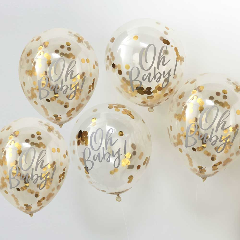 Gold Oh Baby! Confetti Balloons