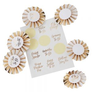 Gold Foiled Baby Shower Badge Kit