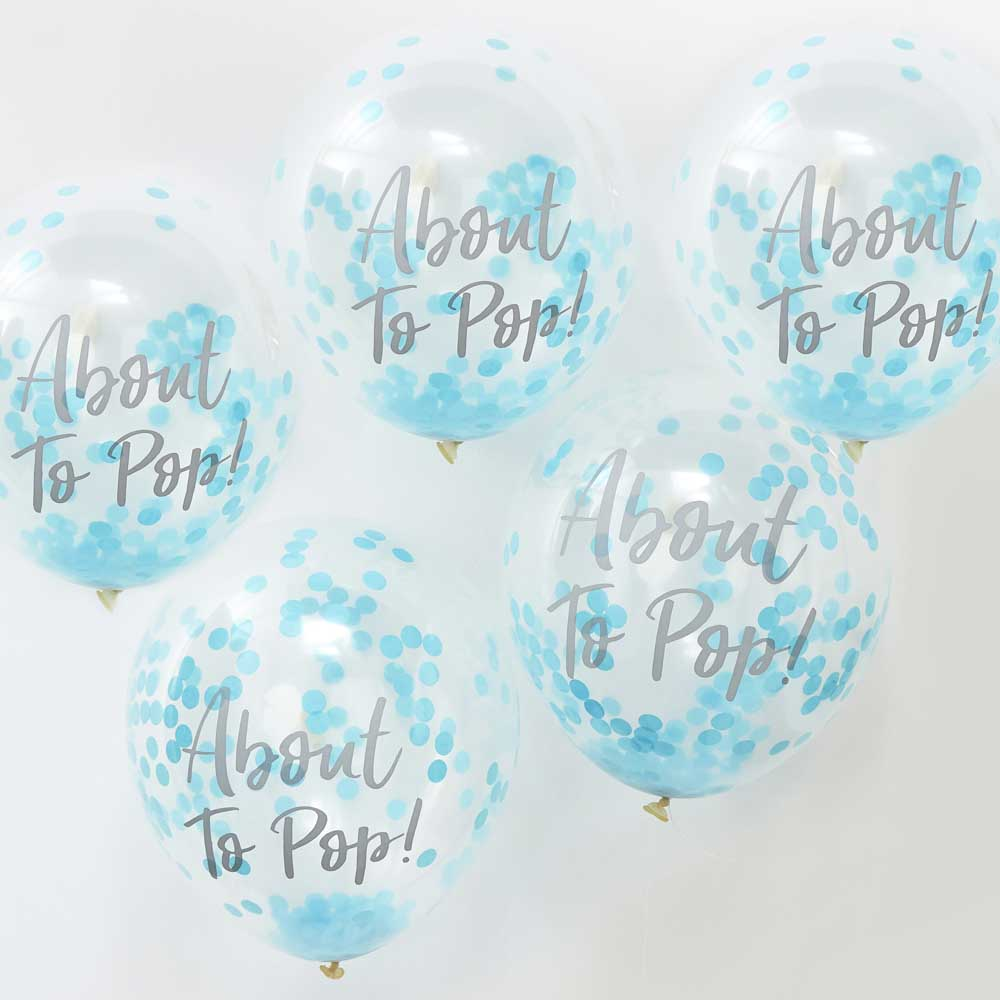 Blue 'About To Pop!' Confetti Balloons