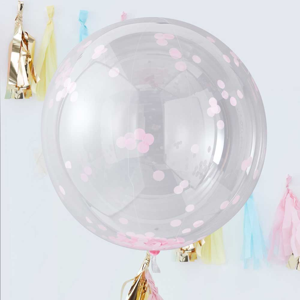 Giant Pink Confetti Orb Balloons