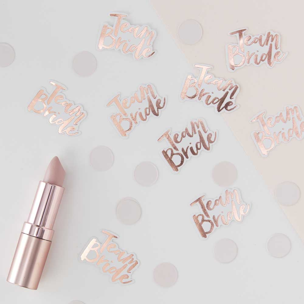 Rose Gold Team Bride Table Confetti