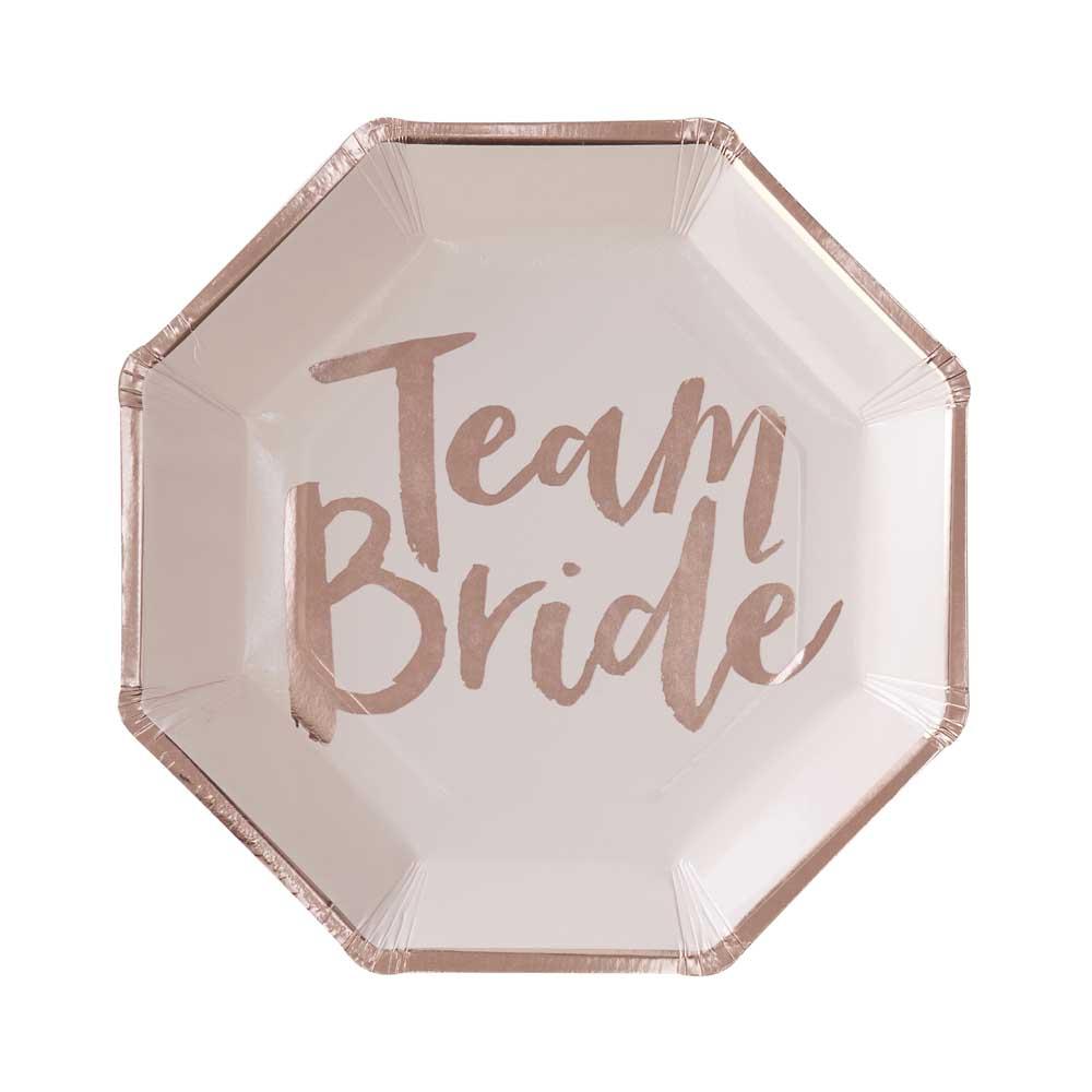 Rose Gold Team Bride Paper Plates