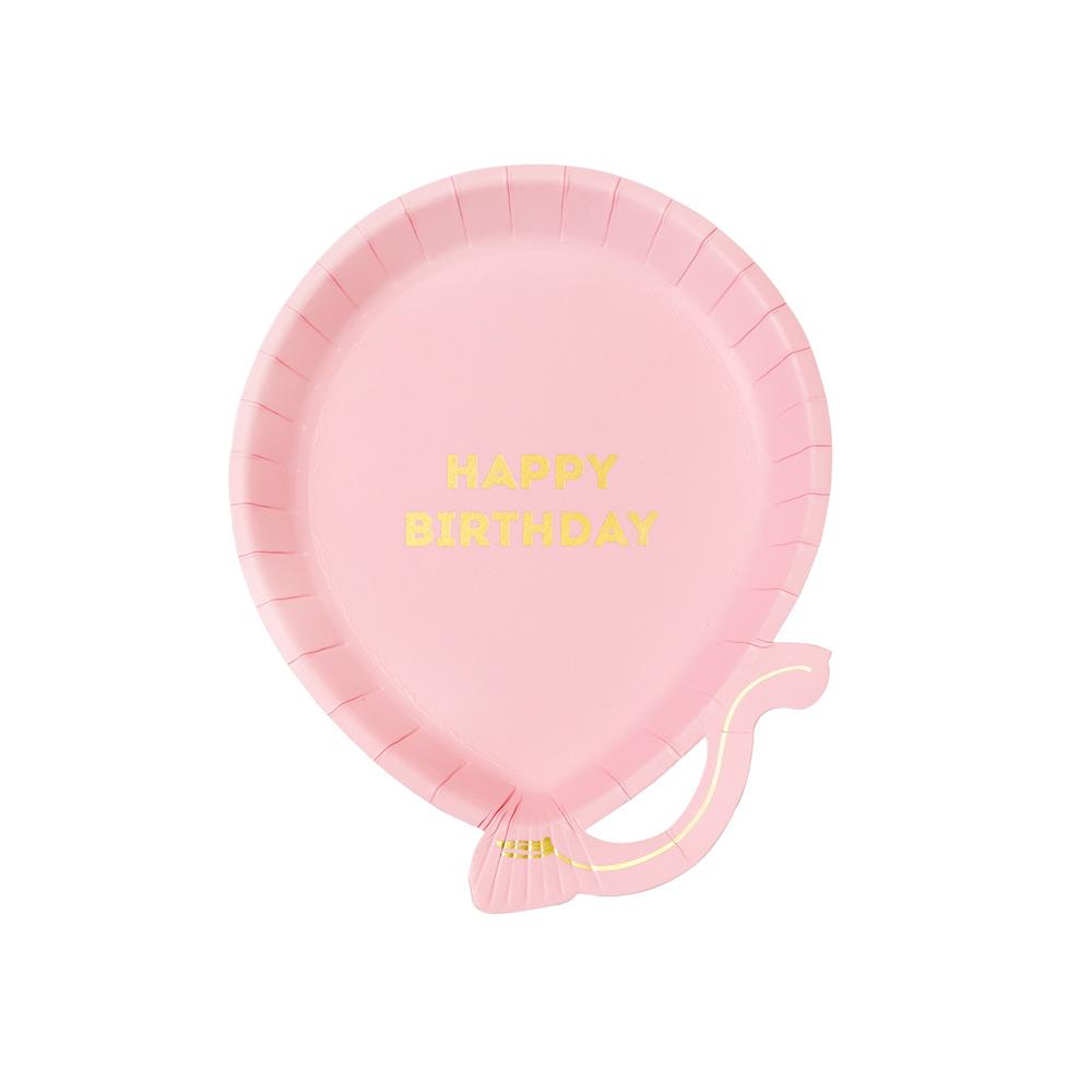 Pink Balloon Birthday Plates