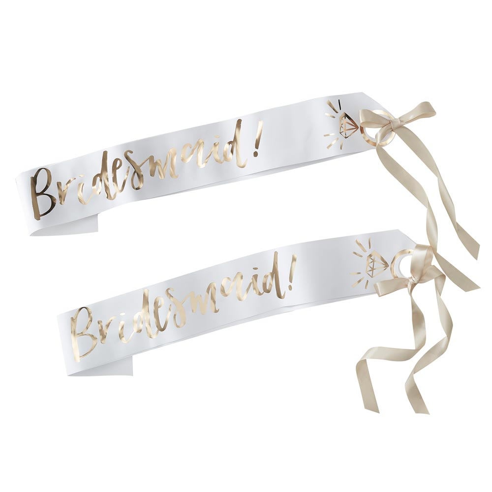 White And Gold Bridesmaid Sashes - 2 Pack