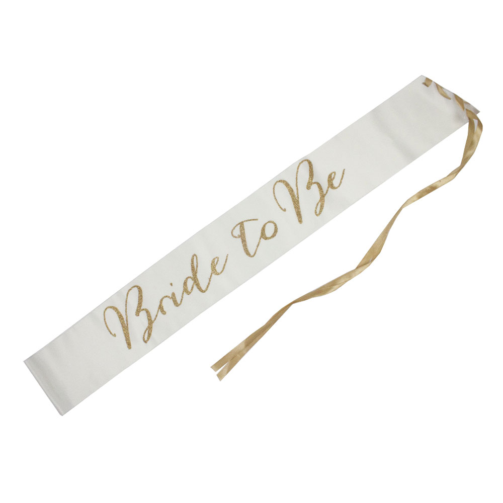 White Fabric Bride To Be Sash