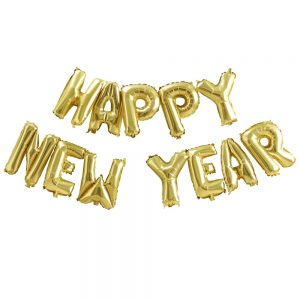 Gold Happy New Year Balloon Bunting