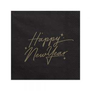 Black & Gold Happy New Year Paper Napkins