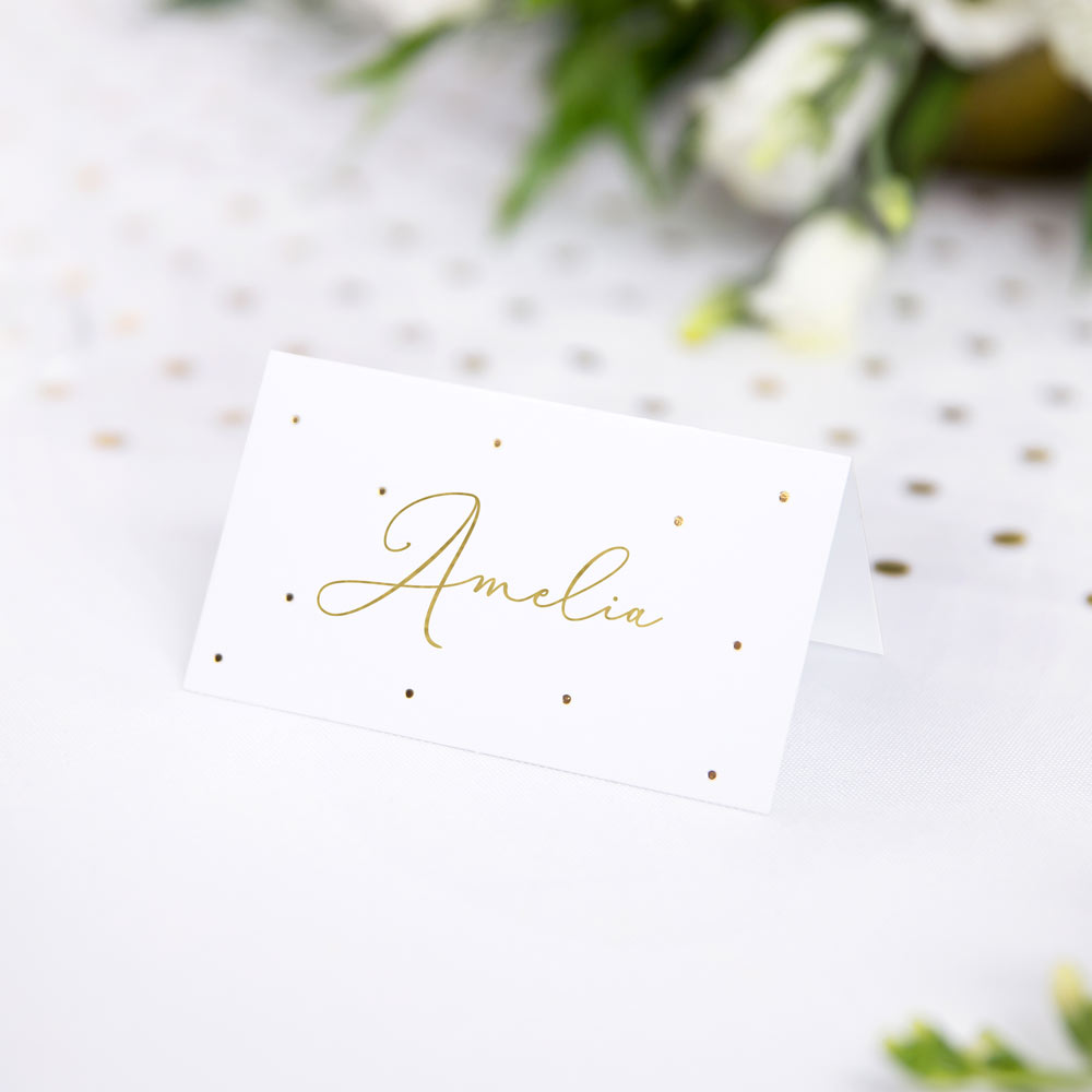 Metallic Gold Dots Place Cards