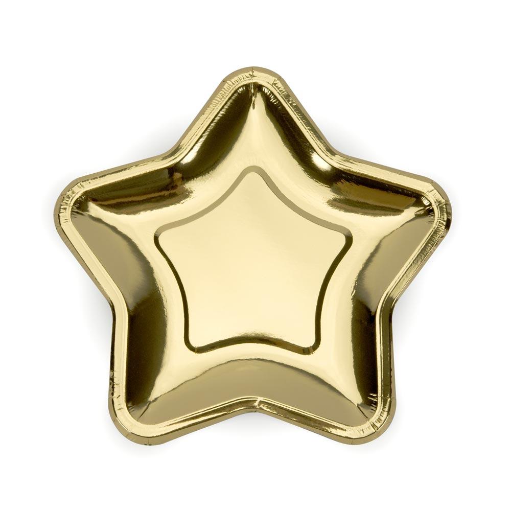 Metallic Gold Star Plates