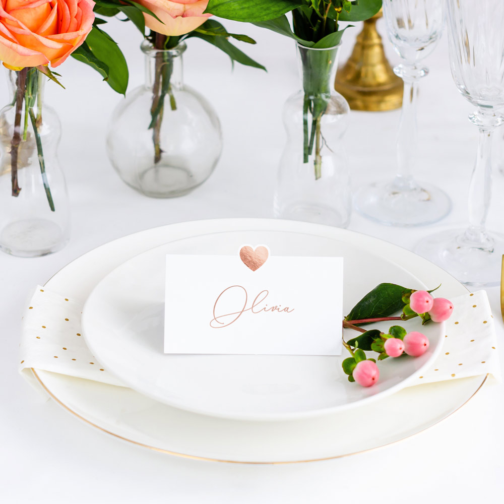 Die Cut Rose Gold Heart Place Cards