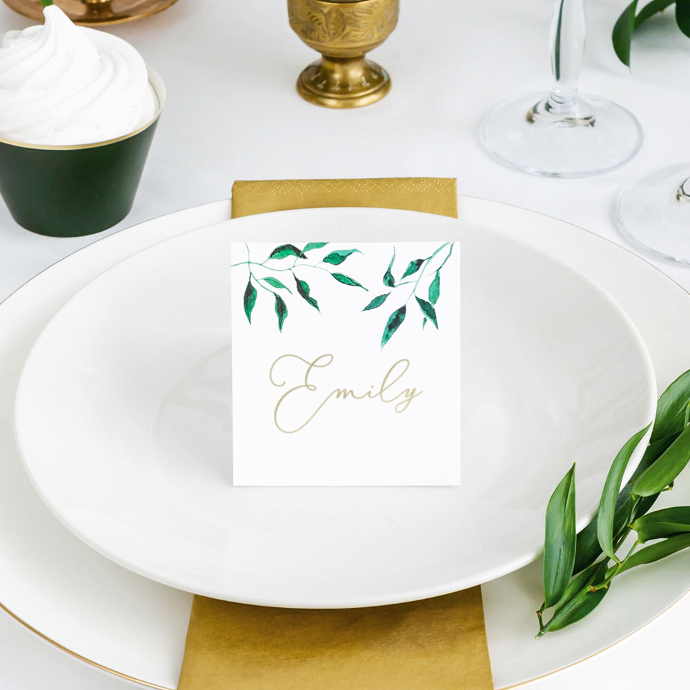 Watercolour Leaves Place Cards