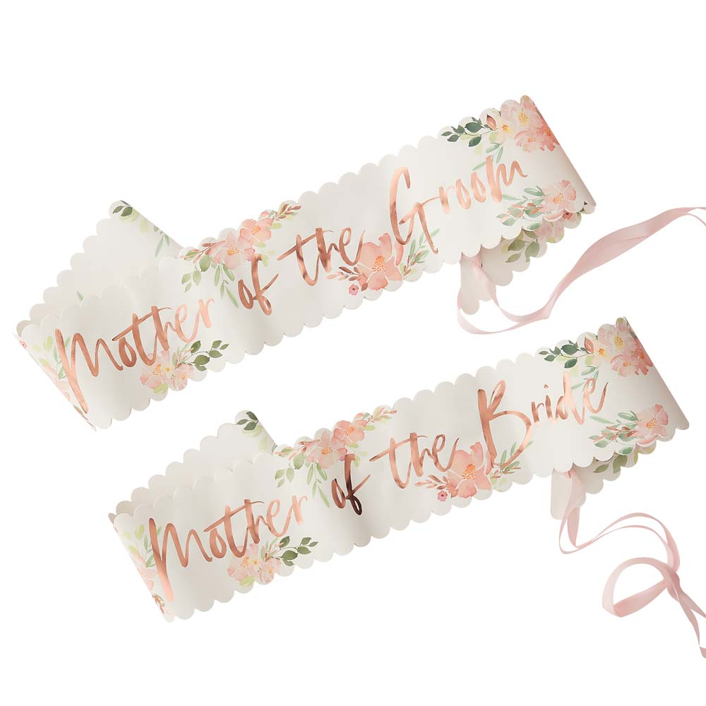 Floral Mother Of The Bride And Groom Sashes