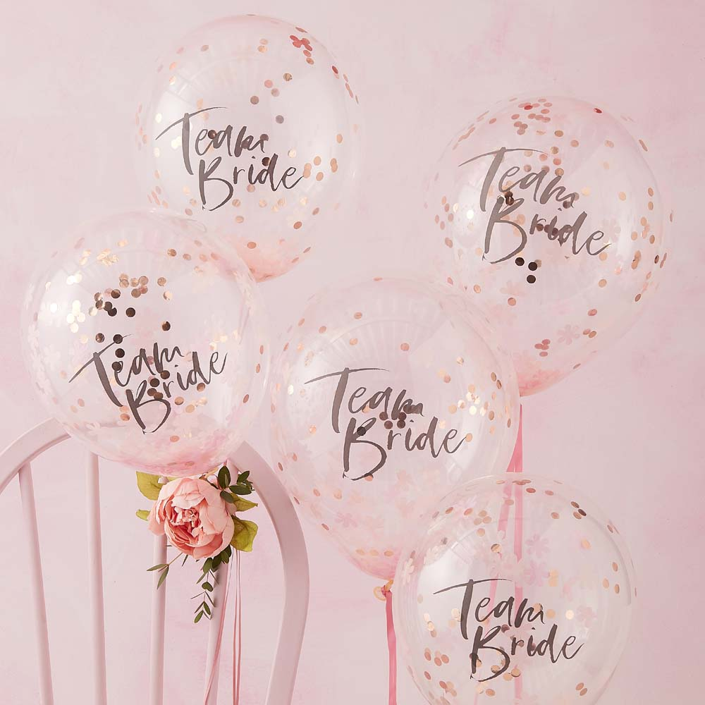Pink and Rose Gold Team Bride Confetti Balloons