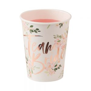 Floral Team Bride Paper Cups