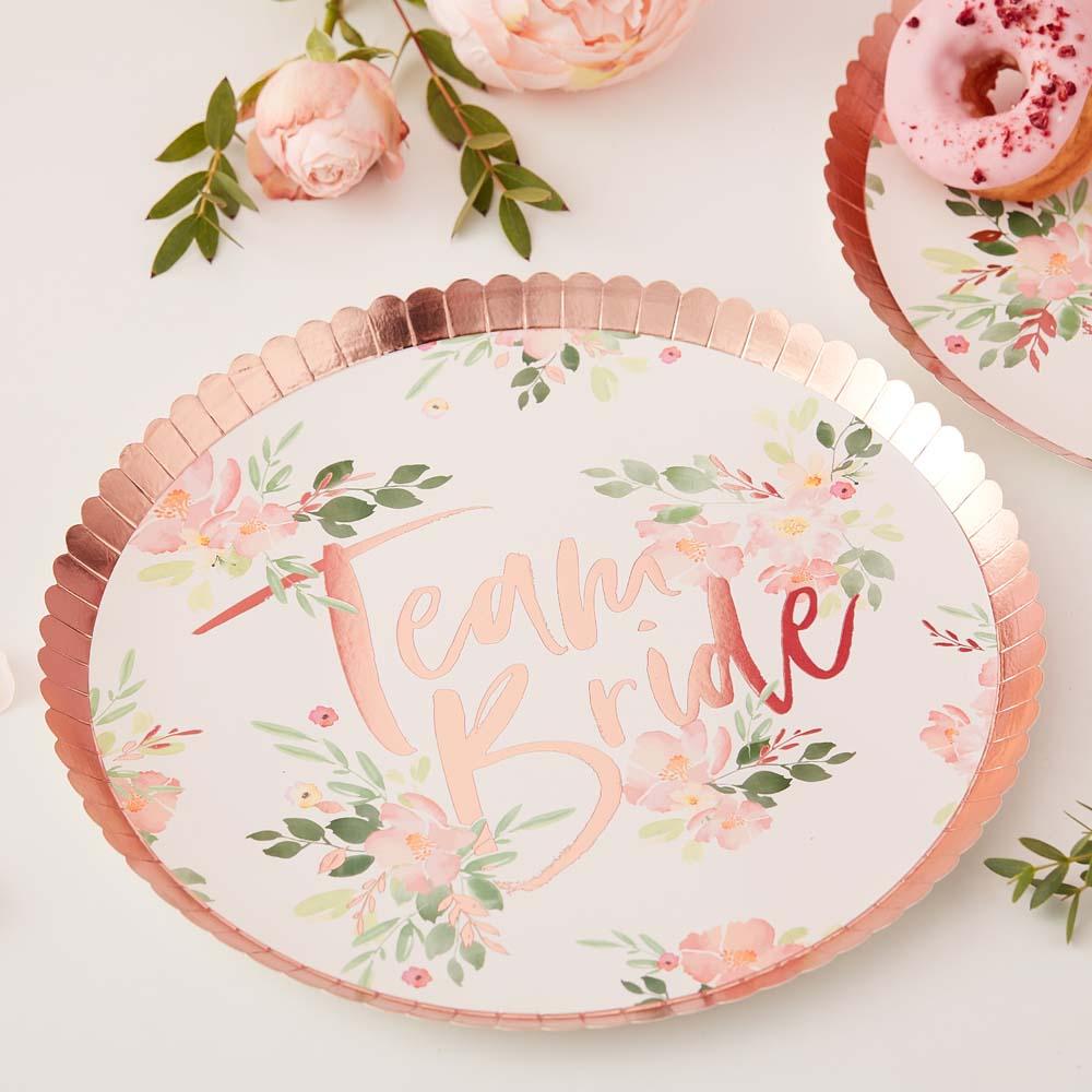 Floral Team Bride Paper Plates