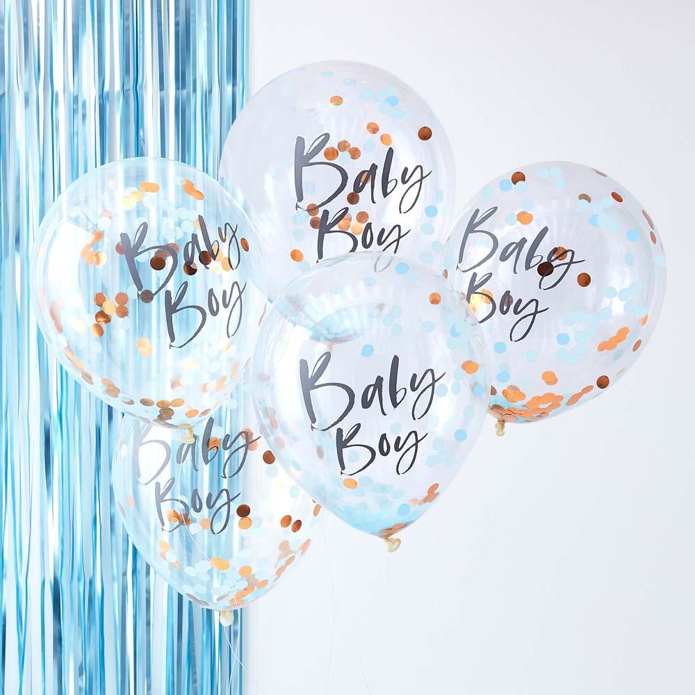 Blue Baby Boy Confetti Balloons