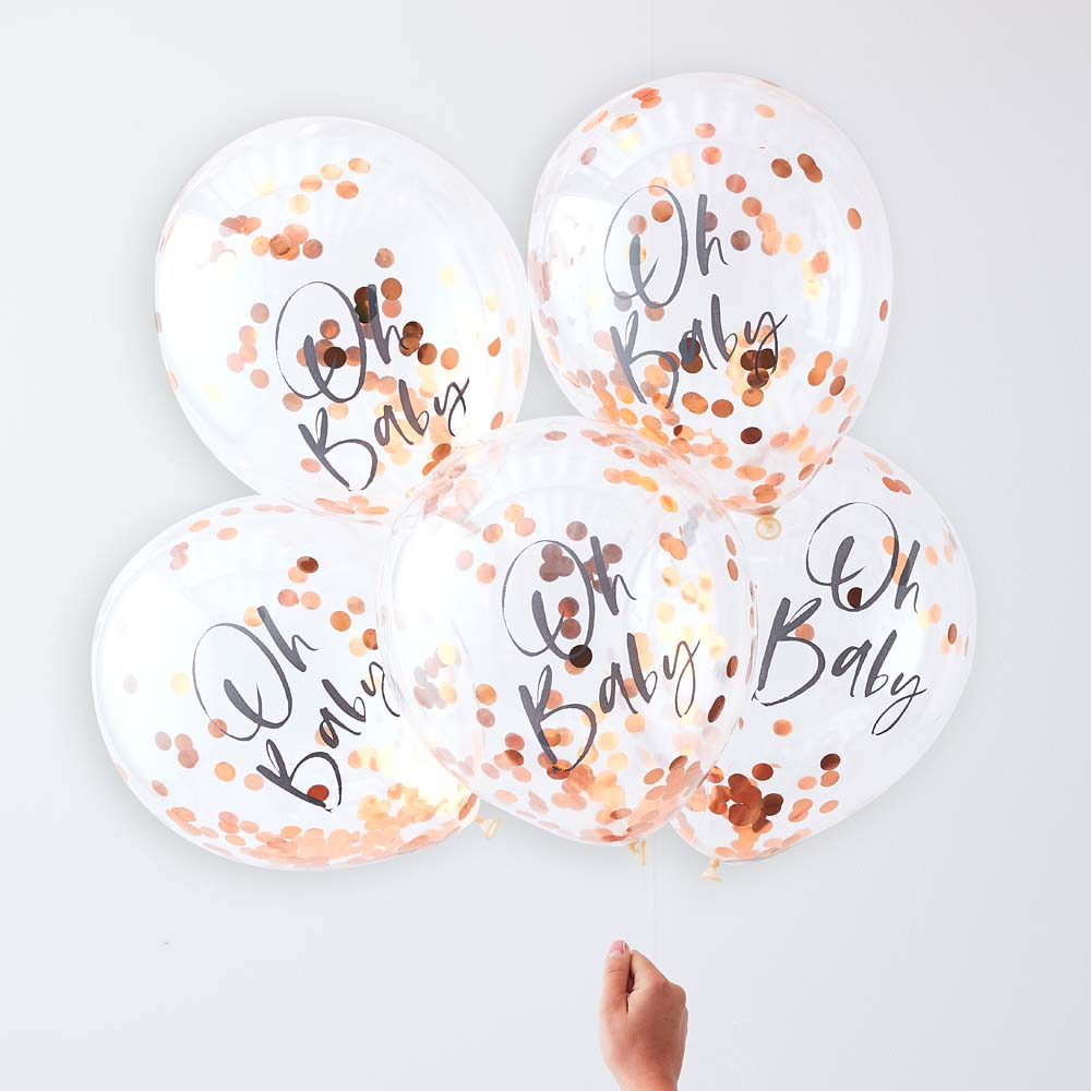 Rose Gold Oh Baby Confetti Balloons