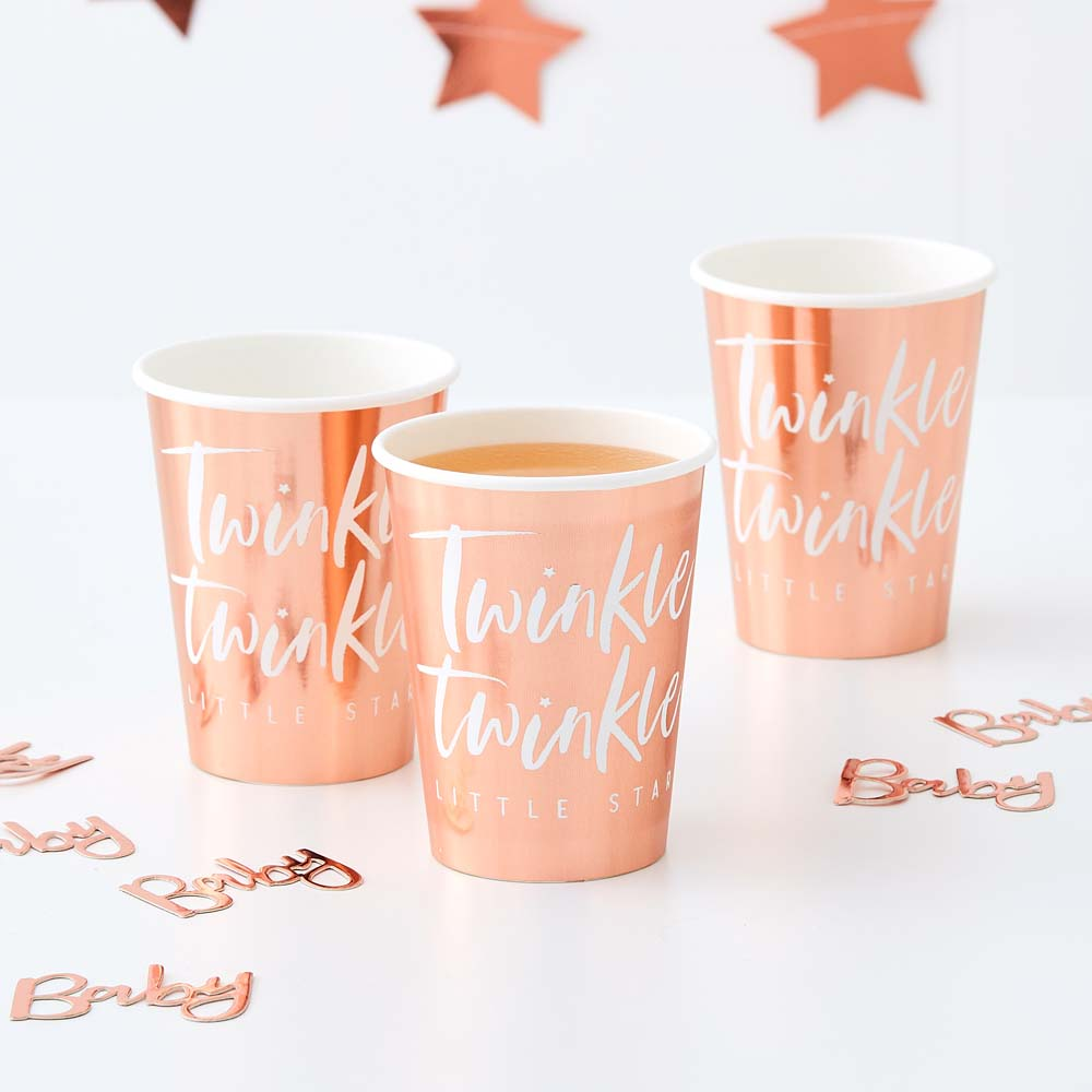 Rose Gold Foiled Twinkle Paper Cups