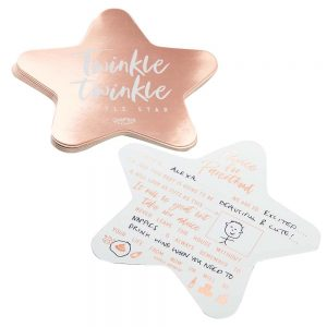 Rose Gold Foiled Star Baby Shower Advice Cards