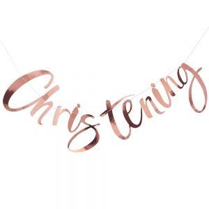 Rose Gold Christening Bunting