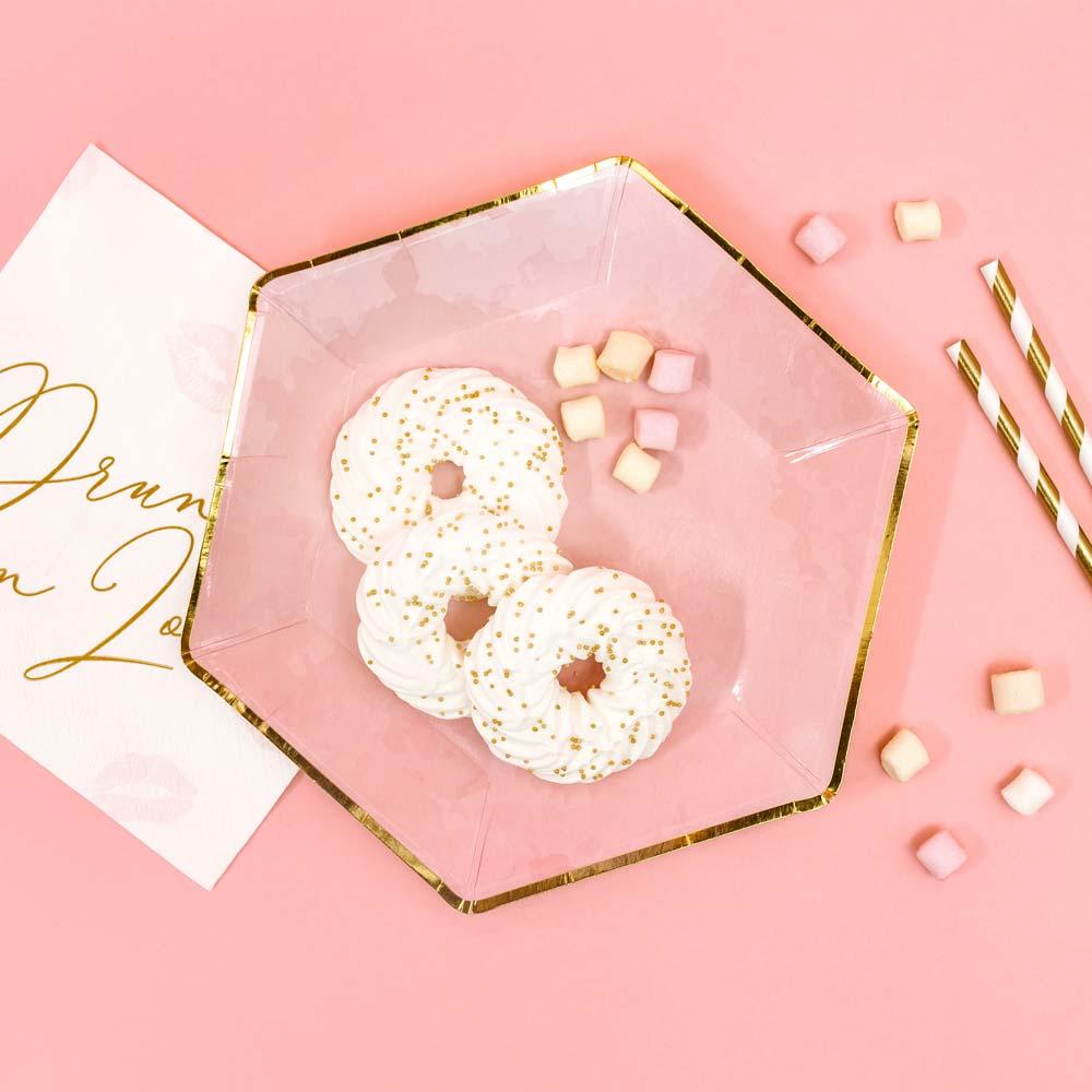 Pink & Gold Trim Hexagon Plates