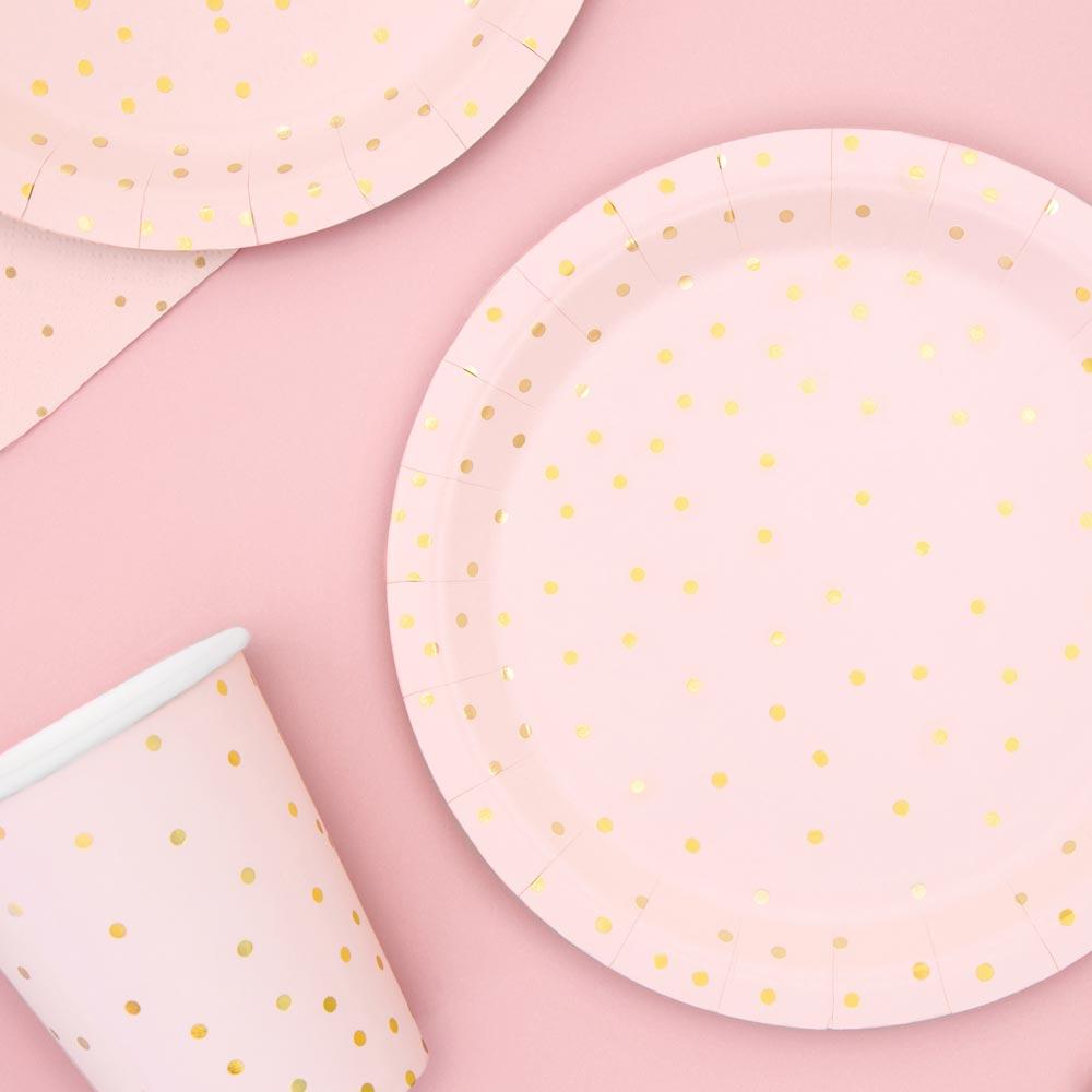 Light Pink & Gold Polka Dot Plates