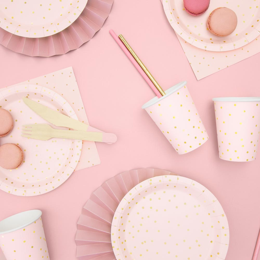Light Pink & Gold Polka Dot Plates