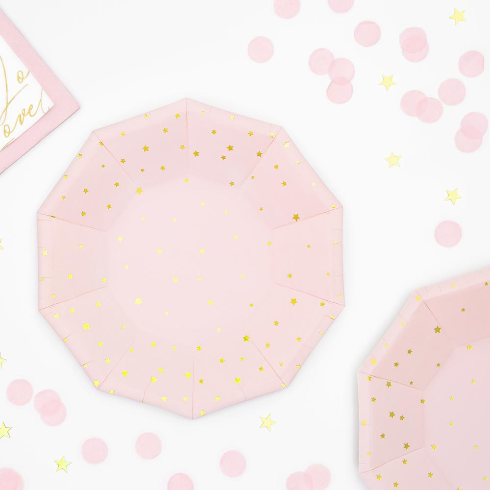 Light Pink & Gold Star Plates