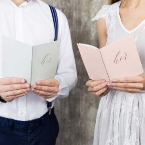 Pink & Grey Wedding Vow Books