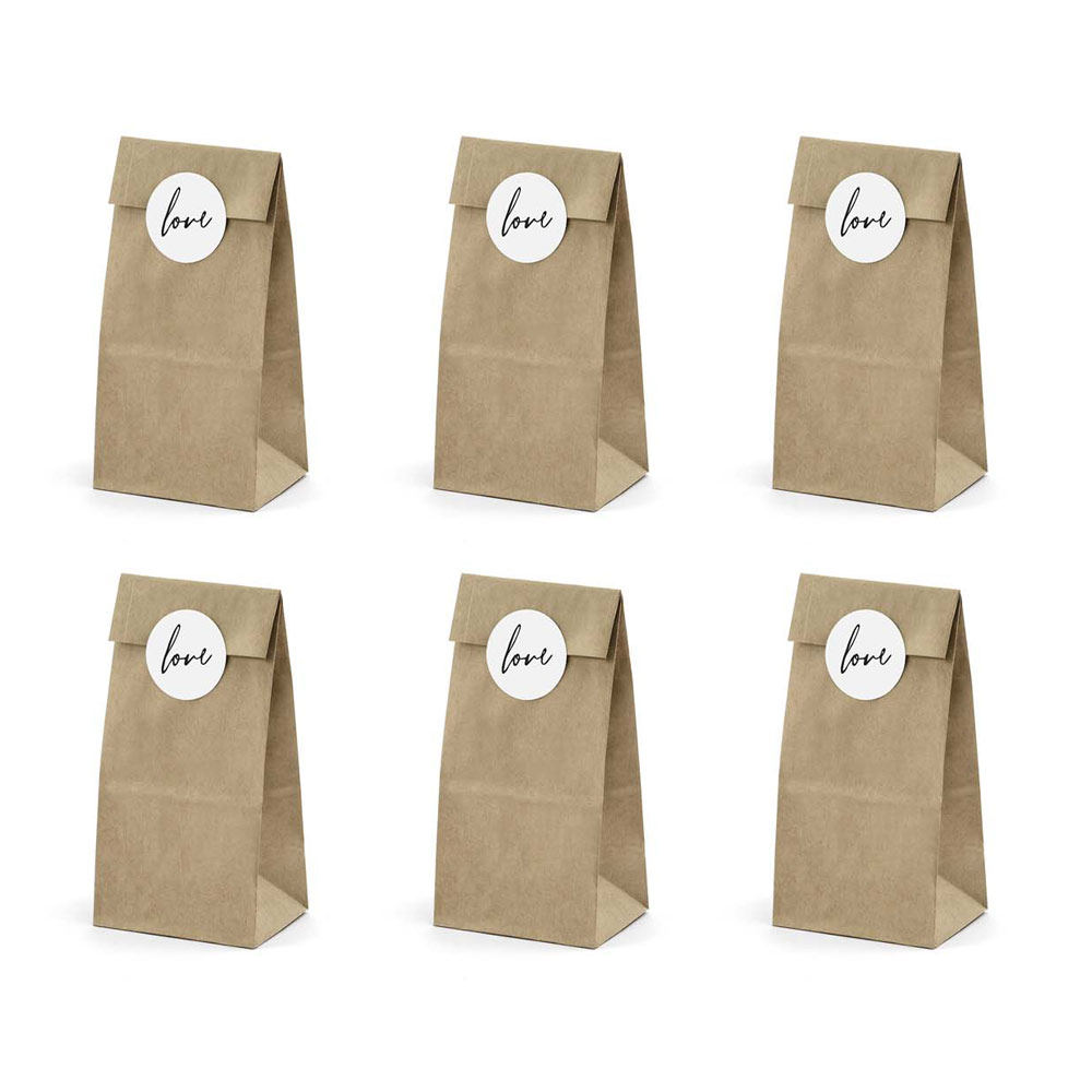 Kraft Sweet Bags With Love Sticker