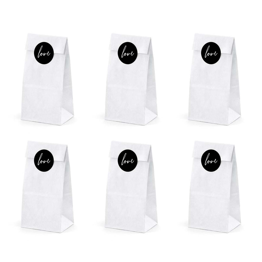 White Sweet Bags With Love Sticker