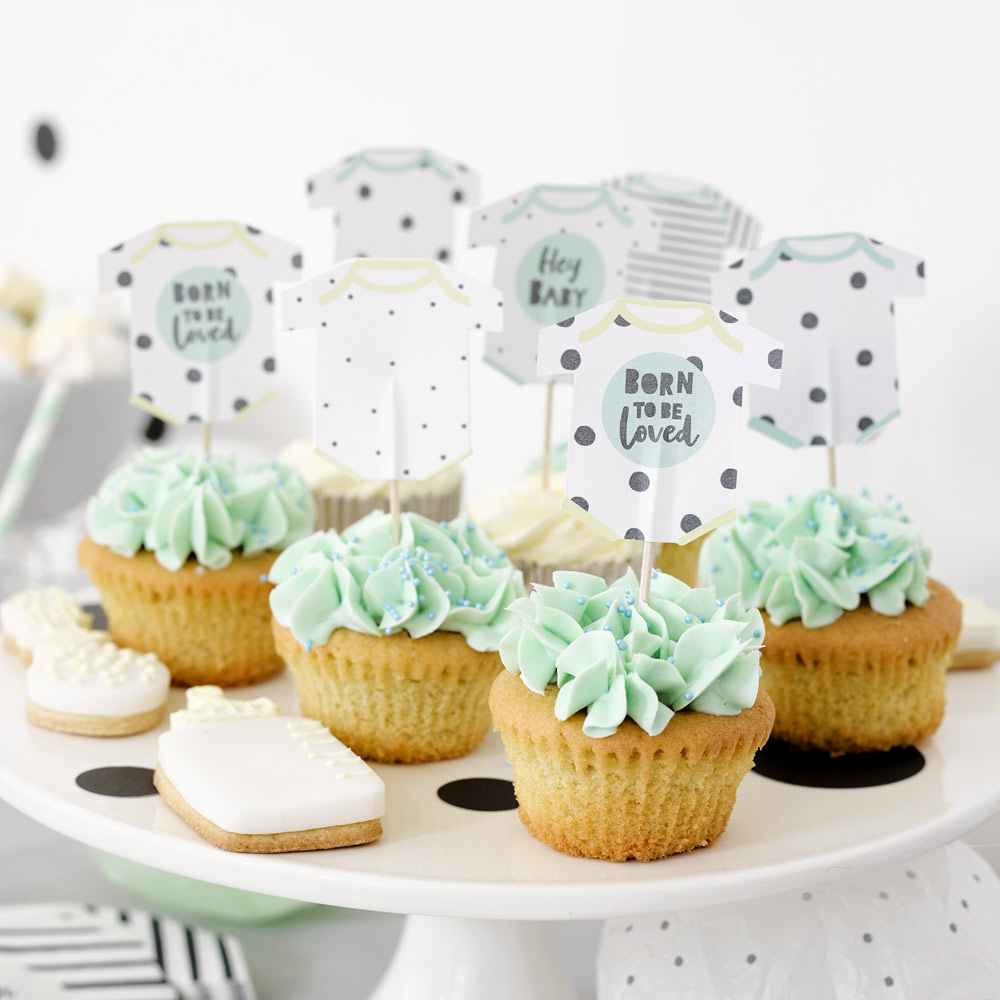 Born To Be Loved Baby Grow Cake Toppers